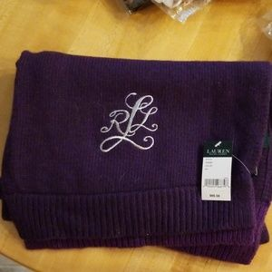 Ralph Lauren silver embroidered purple scarf NWT